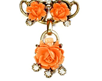 Victorian Orange Coral Rose Flower Brooch Celluloid Jewelry VINTAGE