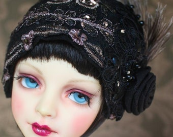 "Roaring Twenties Black Felt ""Louise"" Cloche Hat For Ball Jointed Dolls"