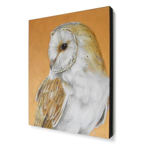 Barn Owl canvas painting - metallic bronze - owl artwork wall hanging - original fine art - realistic wildlife painting