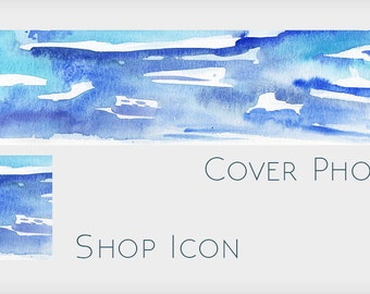 Blue Abstract Watercolor Shop Banner Without Text - Abstract Blank Etsy Cover Design with Icon -  Make Your Own Etsy Shop Design