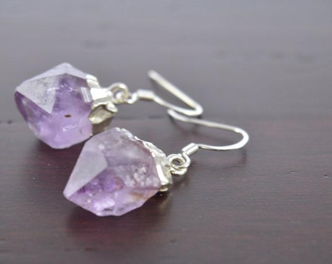 Amethyst Druzy Crystal Point Earrings