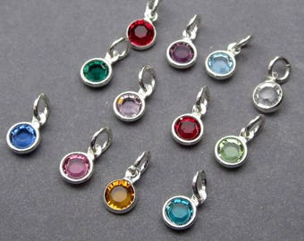 Swarovski Birthstone Charms, 4mm Swarovski Crystal Channel Charms, Bead Dangles, Add a Charm, Necklace Charms, Personalized Jewelry