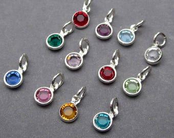 Swarovski Birthstone Charms, 4mm Swarovski Crystal Channel Charms, Bead Dangles, Add a Charm, Necklace Charms, Personalized Jewelry