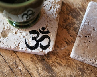 OM Symbol Coaster Set Aum Yoga, Yogi Gift Natural Tumbled Marble Rustic Coasters Set of TWO 4x4 Handmade Home Decor Shabby Chic Boho Simple