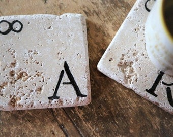 Personalized Infinity Coasters, Set of 2 Natural Tumbled Marble Handmade, Rustic Home Decor, Holiday Gift Black Friday Cyber Monday Sale