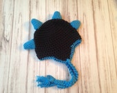 Boys Dinosaur Hat, Ready to ship size 12 months to 2 years, winter hat, christmas gift, gift under 20, photo prop