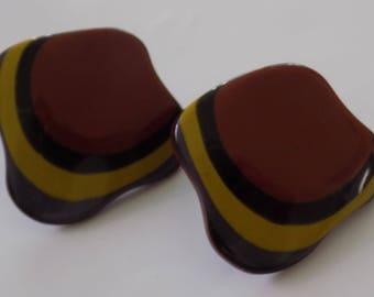 Vintage earrings, deep purple, mustard, and rust colored plastic stud earrings