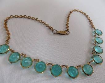 Vintage necklace, blue aquamarine crystals station elegant feminine necklace, classic jewelry