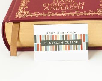 Geometric Personalized Bookplates, Bookplate Sticker, Book Label // ALIGNED