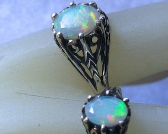 MothersDaySale Genuine Opal Ethiopian Wello Mine Sterling Silver Filigree Custom Ring Handmade size 5 6 7 8 9 10 half 8x6mm or 7x5mm faceted