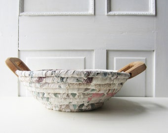 Vintage Coiled Fabric Rag Basket with Wood Handles -  Neutral Pastels - Shabby Chic Home Decor - Nursery - Gift Basket