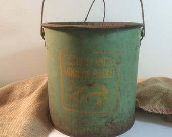 Minnow Bucket 1940s Lucky Waters Minnow Bucket with Old Green Paint