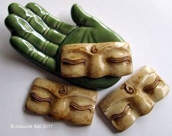 Buddha Eyes Brown Carved Bone Cabochon 40mm, 1pc