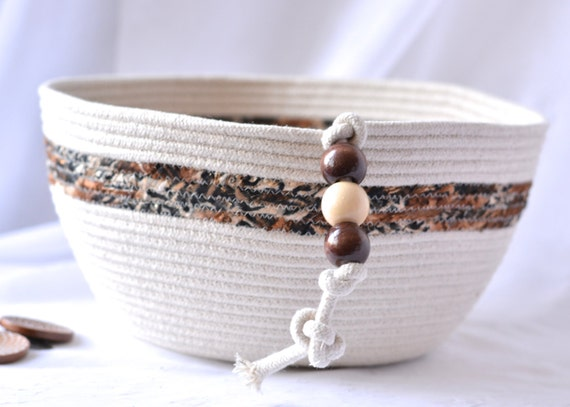Modern Rope Basket, Handmade Fiber Basket, Brush Holder, Hair Brush Organizer, Large Coiled Fabric Basket, Bathroom Decor
