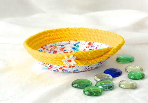 Summer Yellow Bowl,  Fun Ring Holder Basket, Handmade Fabric Basket, Pet Paw Print Treat Bowl, Dog Bowl, Cat Bowl, Desk Accessory Bowl