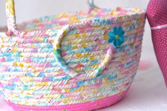 Handmade Easter Basket and 1 Cute Pink Bunny, Flower Girl Basket, Pink Wedding Card Basket, Easter Bucket,  Baby Girl First Easter Basket