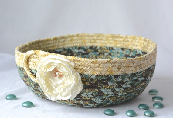 Decorative Gift Basket, Handmade Designer Basket, Mother's Day Gift, Unique Gift Basket, Coiled Fabric Basket, Bathroom Decoration