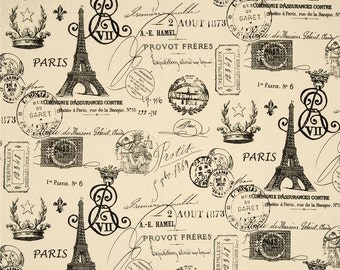 Premier Prints French Stamp Black / Natural Fabric