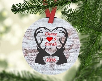 Personalized Christmas Ornament Couples Ornament Deer Ornament  Custom Ornament  Porcelain Ornament First Christmas