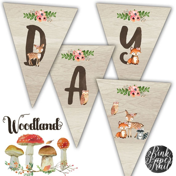 Sweet Woodland Happy Birthday Banner Rustic