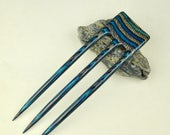 Reserved for Melanie Three Prong Blue&Black Twilight DymondWood Fork -  Very durable. Water resistant.