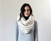 Autumn SALE-- chunky infinity scarf. hooded knit scarf. thick textured fall winter accessory // The Lourdes - FISHERMAN