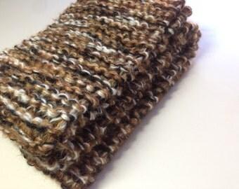 "Brown Tweed-Look Scarf, Guys or Gals Winter Scarf, Black Brown White Scarf, 50"" Knitted Scarf"