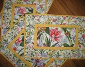 Reserved for Marcia, Placemats in Floral, Easter, quilted, Summer, table linens, fabric from Fabri-Quilt