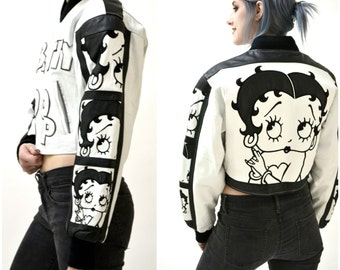 Vintage Leather Jacket with Betty Boop XS Small Vintage White Leather Bomber Jacket with Betty Boop Comics Black and White By Montana Toons