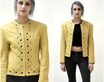 Vintage Leather Jacket by North Beach Michael Hoban Camel Mustard Yellow// Vintage Metallic Gold and Yellow Leather Jacket Size Small