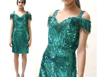 15% OFF SALE Vintage Sequin Dress Size Small Medium Blue Teal Green Fringe Flapper Dress // 90s Metallic Vintage Sequin Dress Flapper Beaded