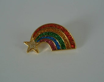 1980s Rainbow Shooting Star Lapel Pin