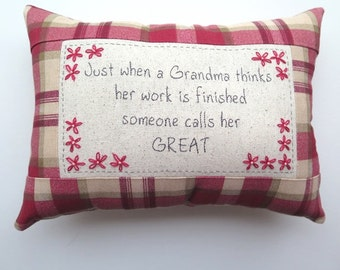 Great Grandma Embroidered Pillow -Red