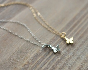 Butterfly Necklace - Tiny Butterfly Charm Necklace - Gold or Silver Butterfly Necklace - Layering Necklace