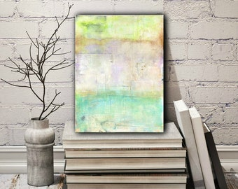 "9x12 Abstract Painting, Abstract Art, Original Art, Abstract Landscape Painting, Impressionist Contemporary Art, Aqua, Lime Green, ""Summer"""