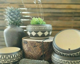 Ceramic planter pottery Carved  sgraffito Vase home deco GEO  Aztec black white indoor planters pot vase gardening