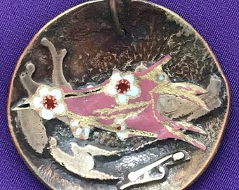Copper and silver handmade pendant-Copper pendant-flower pendant-Oriental pendant-Japanese paper pendant-origami pendant-Svetlana Designs