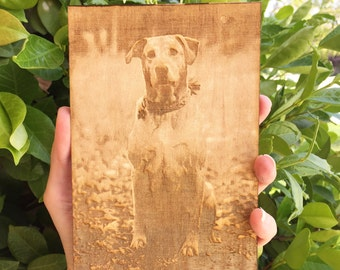 Laser engraved photo on wood 4x6, laser engraved portrait, laser engraved photograph, Pet loss Memorial gift, brithday gift, anniversary