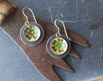 Green Flower Vintage Tin Earrings, Tin Disc Earrings, Light Weight Earrings, Sterling Ear Wires