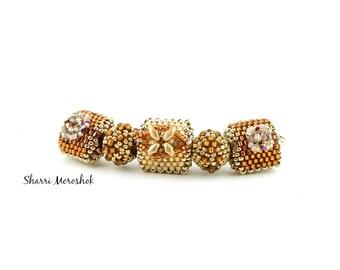 Sale - Reduced 30% - set of 5 Beaded Beads by SharriMoroshok