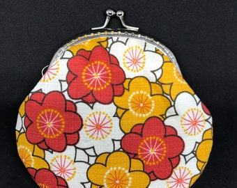 Free Shipping - Handmade Coin Purse Red And Yellow Floral Pattern
