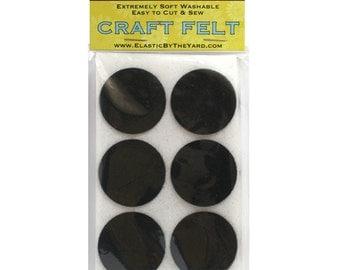 "48 - 1.5"" Black Adhesive Felt Circles"
