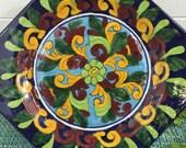 Colorful Talavera Venegas Mexico Square Wall Plate Plaque Tile- Mexican pottery plate, Talavera plate, wall plate, Mexican Talavera plate