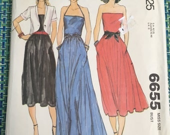 1979 McCalls Sewing Pattern 6655 Misses Summer Strapless Long or Short Dress Size 6 Uncut- McCalls pattern, summer dress, long dress