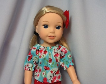 14.5 Inch Doll Clothes Peasant Shirt and Leggings for dolls like wellie wishers