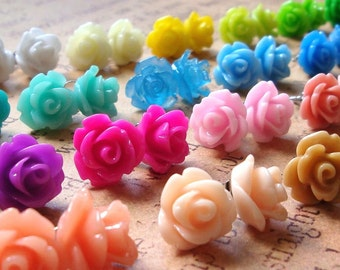 Rose Earrings, 23 Colors To Choose From, Choose Your Own Mix, Flower Earrings, Surgical Steel Posts, 10mm Roses
