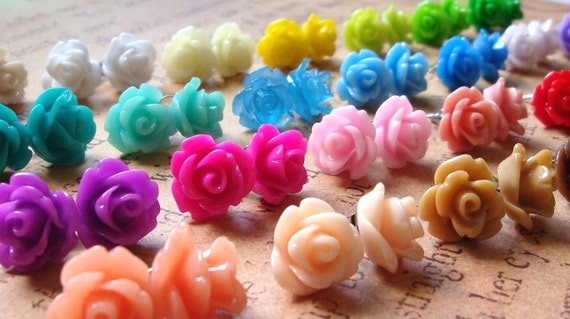 CLEARANCE Rose Earrings, THREE PAIRS, 23 Colors To Choose From, Choose Your Own Mix, Flower Earrings, Surgical Steel Posts, 10mm Roses