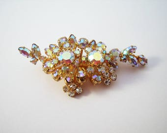 Triad layered rhinestone brooch with aurora borealis stones