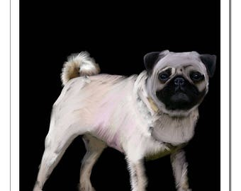 Pug Dog Illustration-Pop Art Print