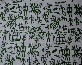 Handloom cotton fabric in green on white back ground - One yard